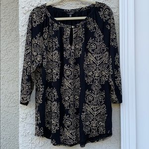 Lucky Brand Black & Gold Floral Blouse Size XL